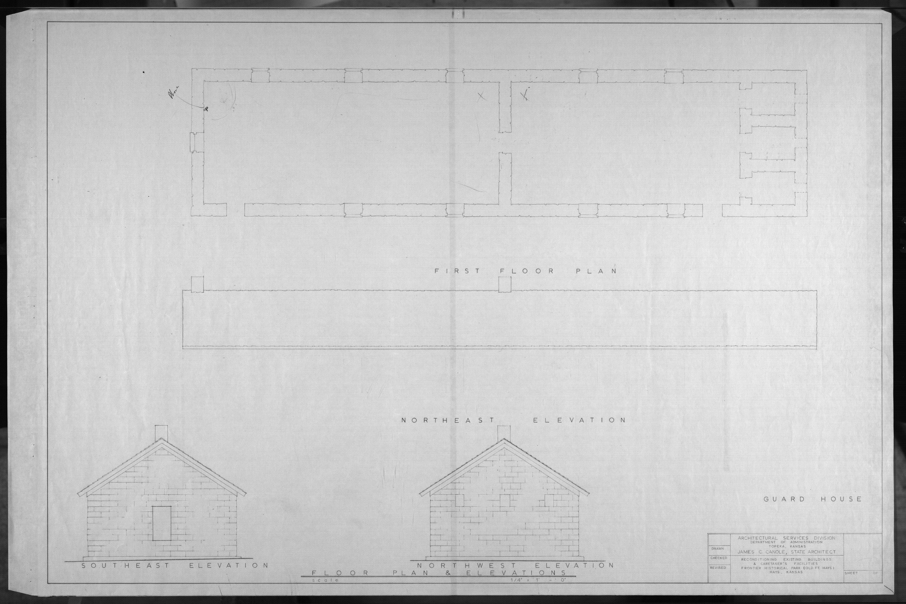 Architectural plans for Frontier Historical Park and Old Fort Hays - 5