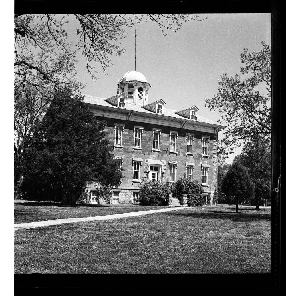 Tauy Jones Hall at Ottawa University - Tauy Jones Hall.  Photograph donated by Mrs. Ray Garrett.