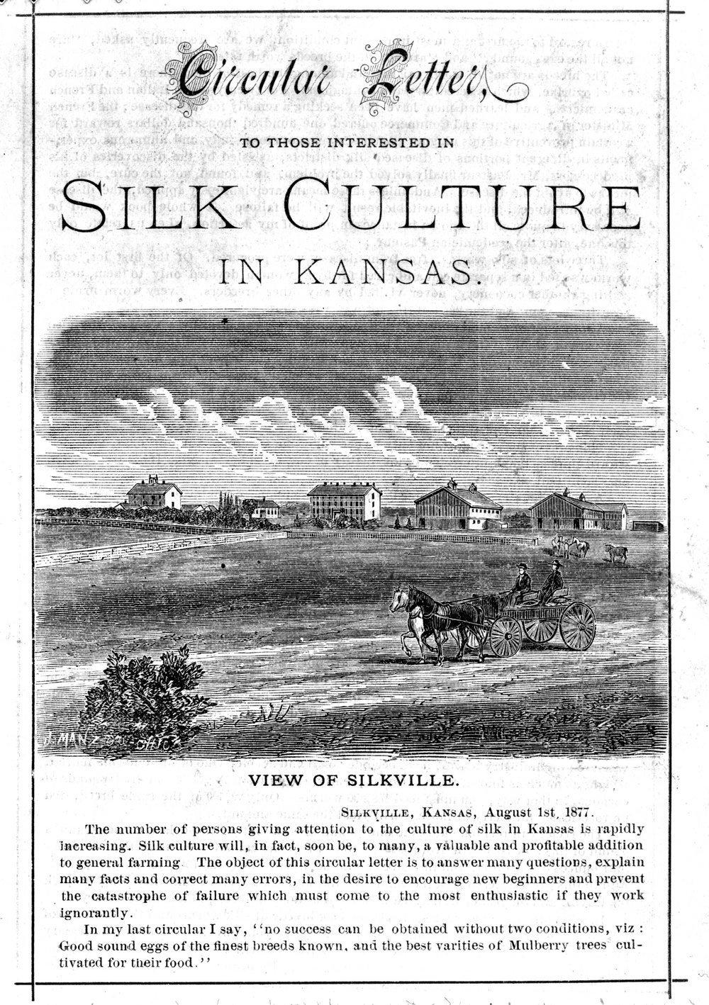 Circular letter regarding Silkville, Kansas