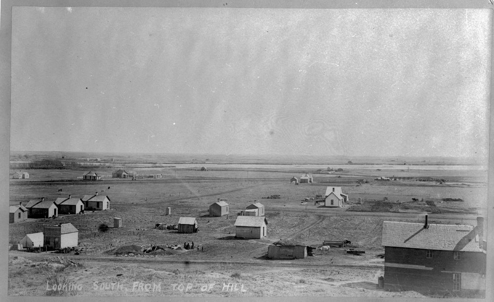 Larned, Kansas - Overview, looking south from top of hill, Larned, early 1880's (Photo No. 1)