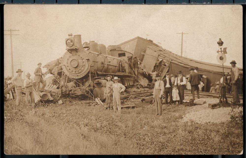 Steam train wreck in Pawnee County, Kansas