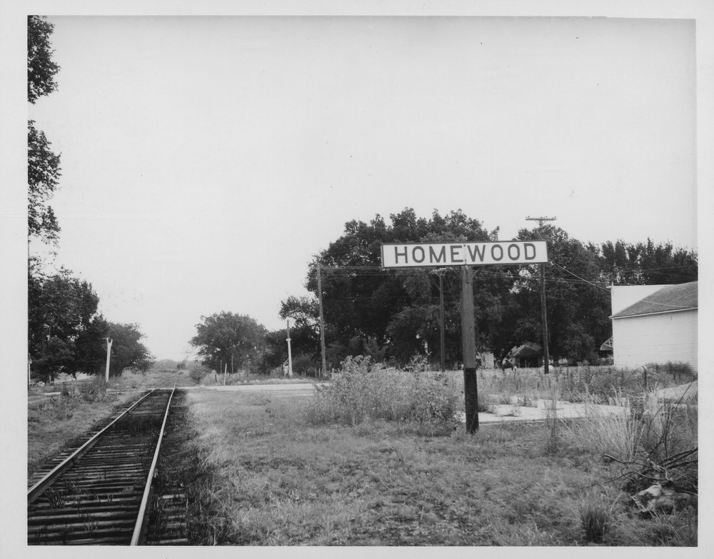 Atchison, Topeka and Santa Fe Railroad sign for Homewood in Franklin County