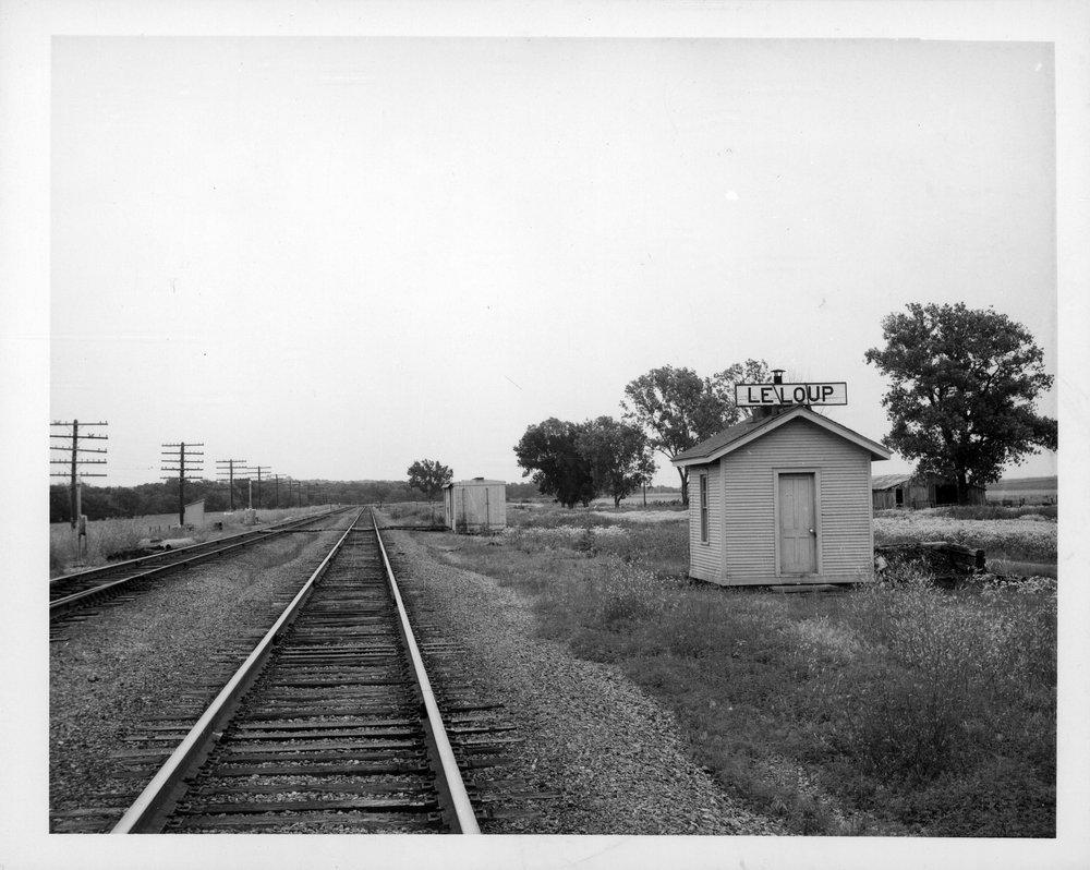 Atchison, Topeka and Santa Fe Railway Company's box depot, LeLoup, Kansas