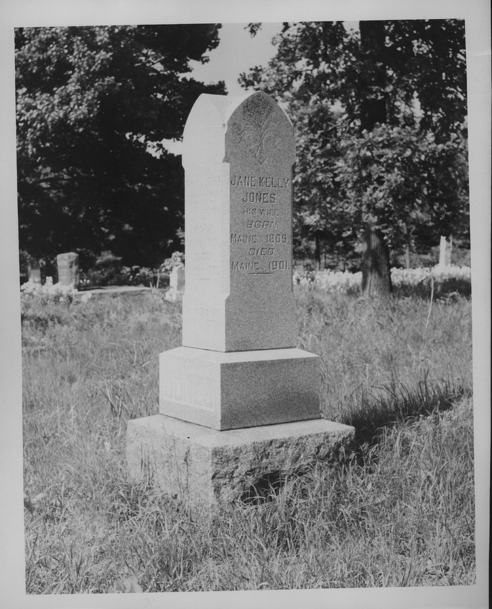 Rev. John Tecumseh Jones and Jane Kelly Jones gravesite - Photo #13 is of the monument marking the grave of Jane Kelly Jones, wife of John Tecumseh Jones.