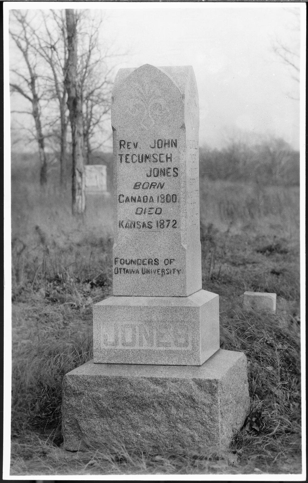 Rev. John Tecumseh Jones and Jane Kelly Jones gravesite - Photo #16 is on a postcard.  It is of the monument of Rev. John Tecumseh Jones.