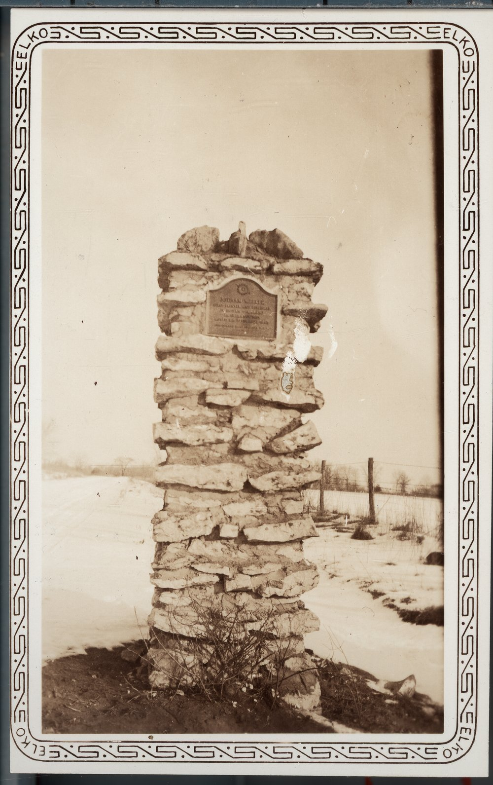 DAR markers at Ottawa Indian Burial Grounds, Kansas - Photograph #2 is of a single marker at the Indian Mission Burial Grounds.