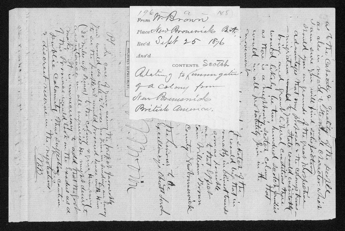 Governor Thomas Osborn immigration received correspondence - 12