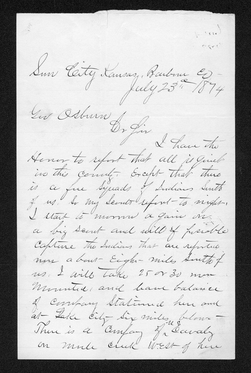 Governor Thomas Osborn Indian affairs received correspondence - 5