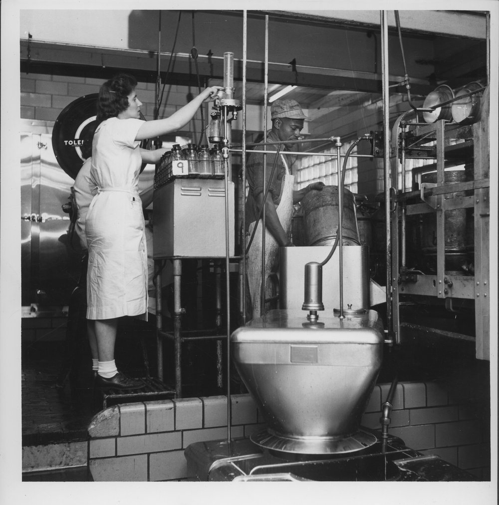 Dairy industry in Ottawa, Kansas - Milk being poured into a processer.  The industry and persons are both unidentified. Photo *2