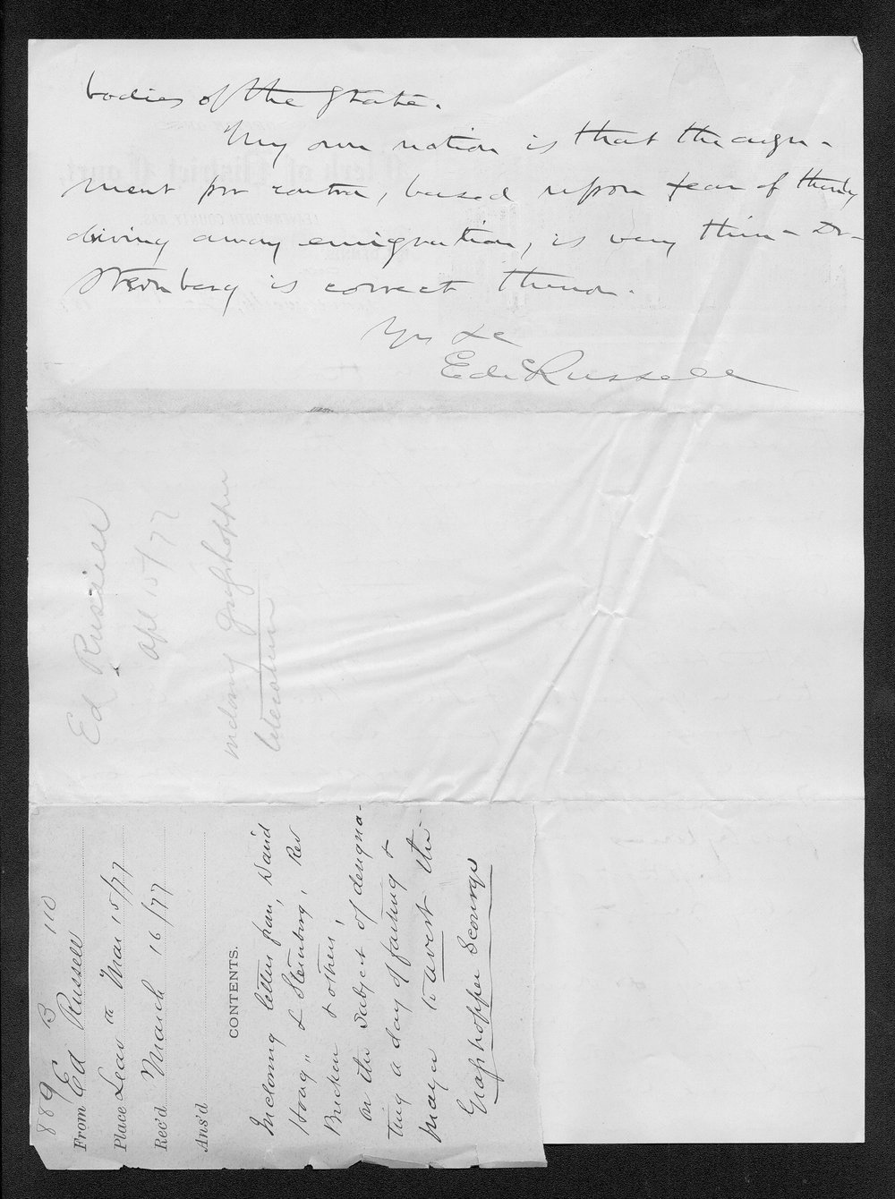 Governor George Anthony grasshoppers received correspondence - 6