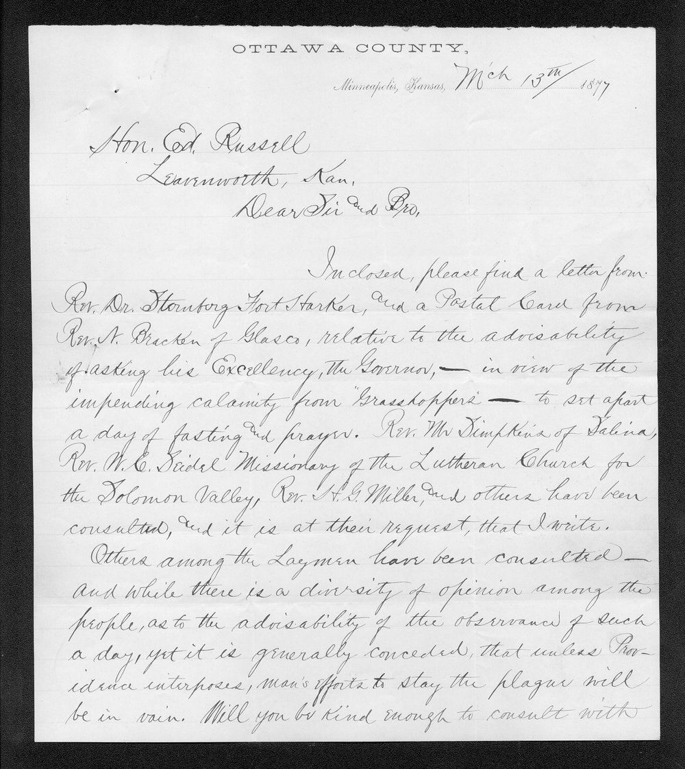 Governor George Anthony grasshoppers received correspondence - 7