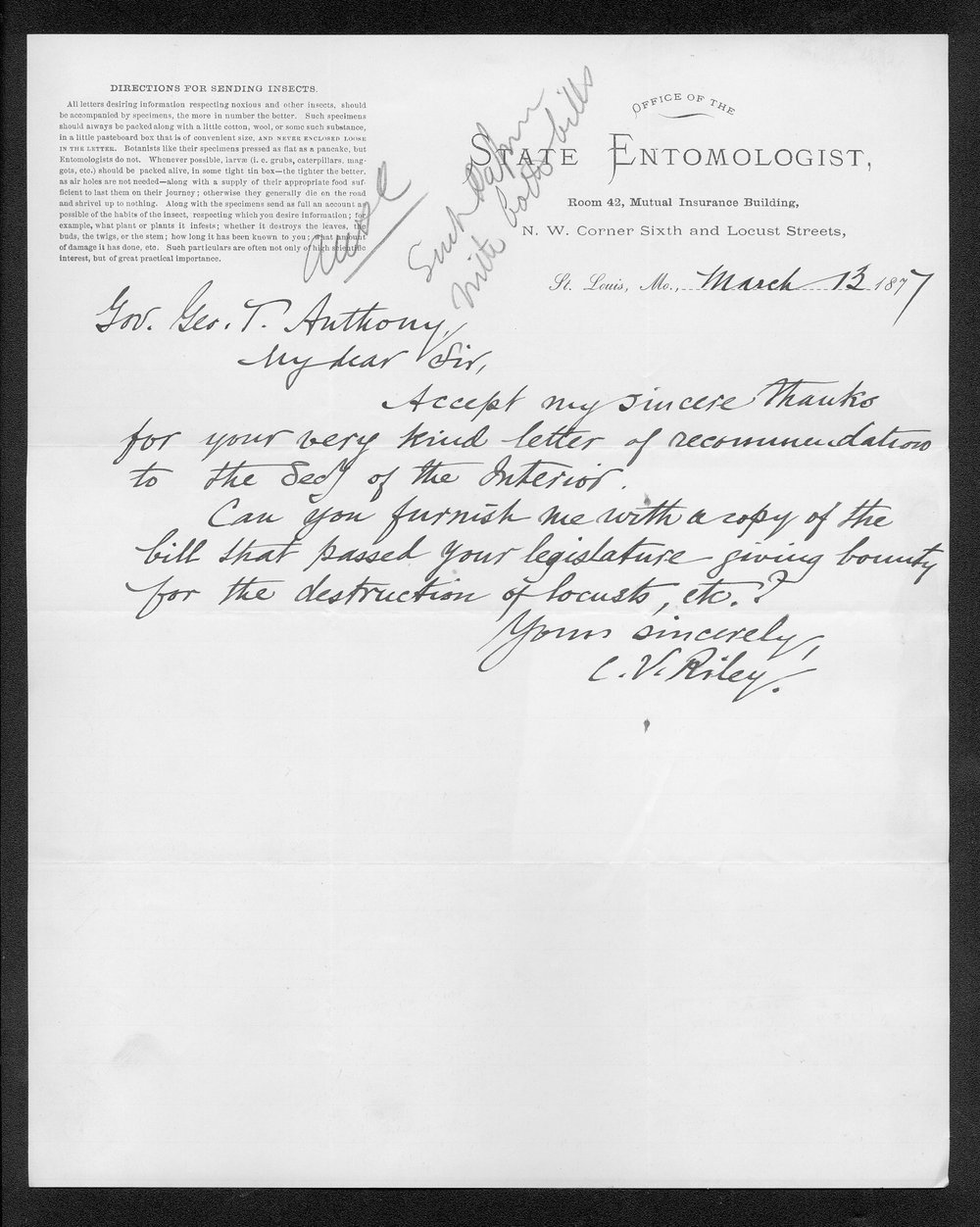 Governor George Anthony grasshoppers received correspondence - 10
