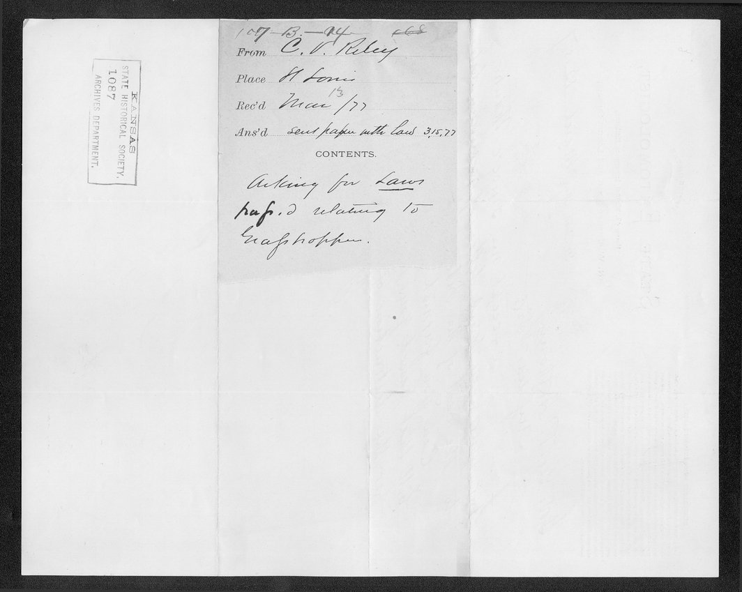 Governor George Anthony grasshoppers received correspondence - 11