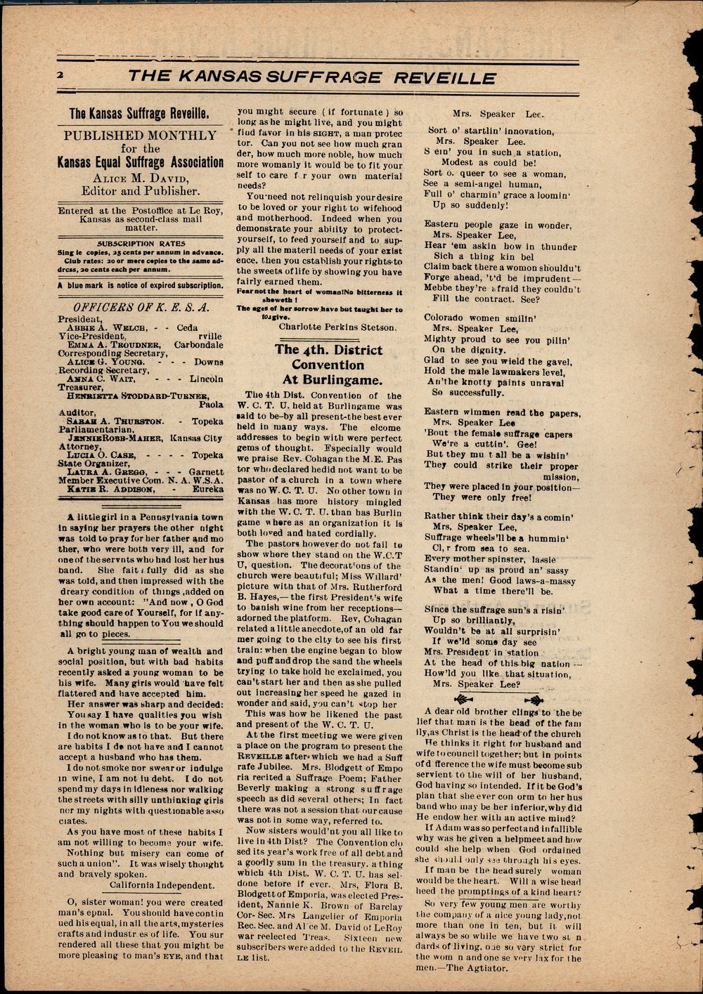 Kansas Suffrage Reveille: organ of the Kansas Equal Suffrage Association - 2