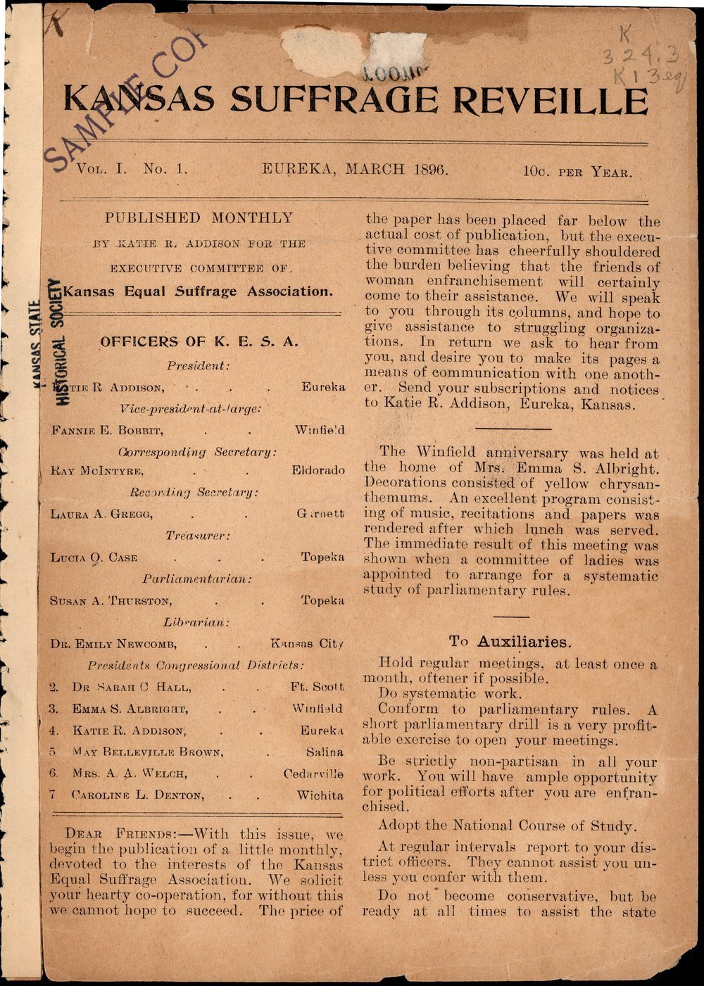 Kansas Suffrage Reveille: organ of the Kansas Equal Suffrage Association - 1