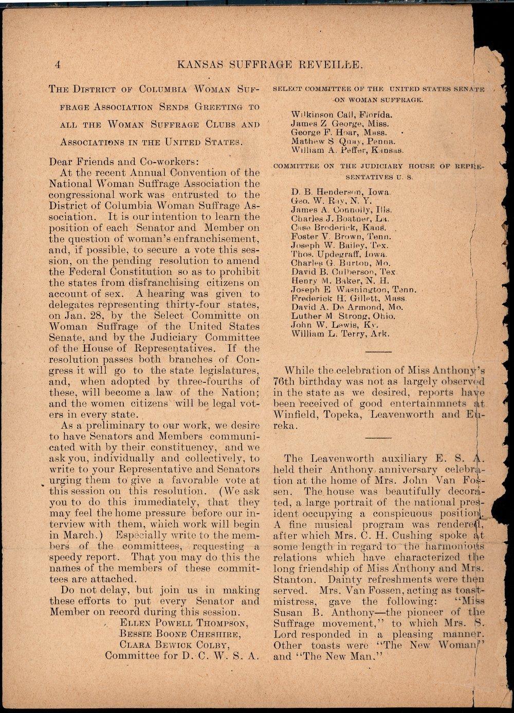 Kansas Suffrage Reveille: organ of the Kansas Equal Suffrage Association - 4