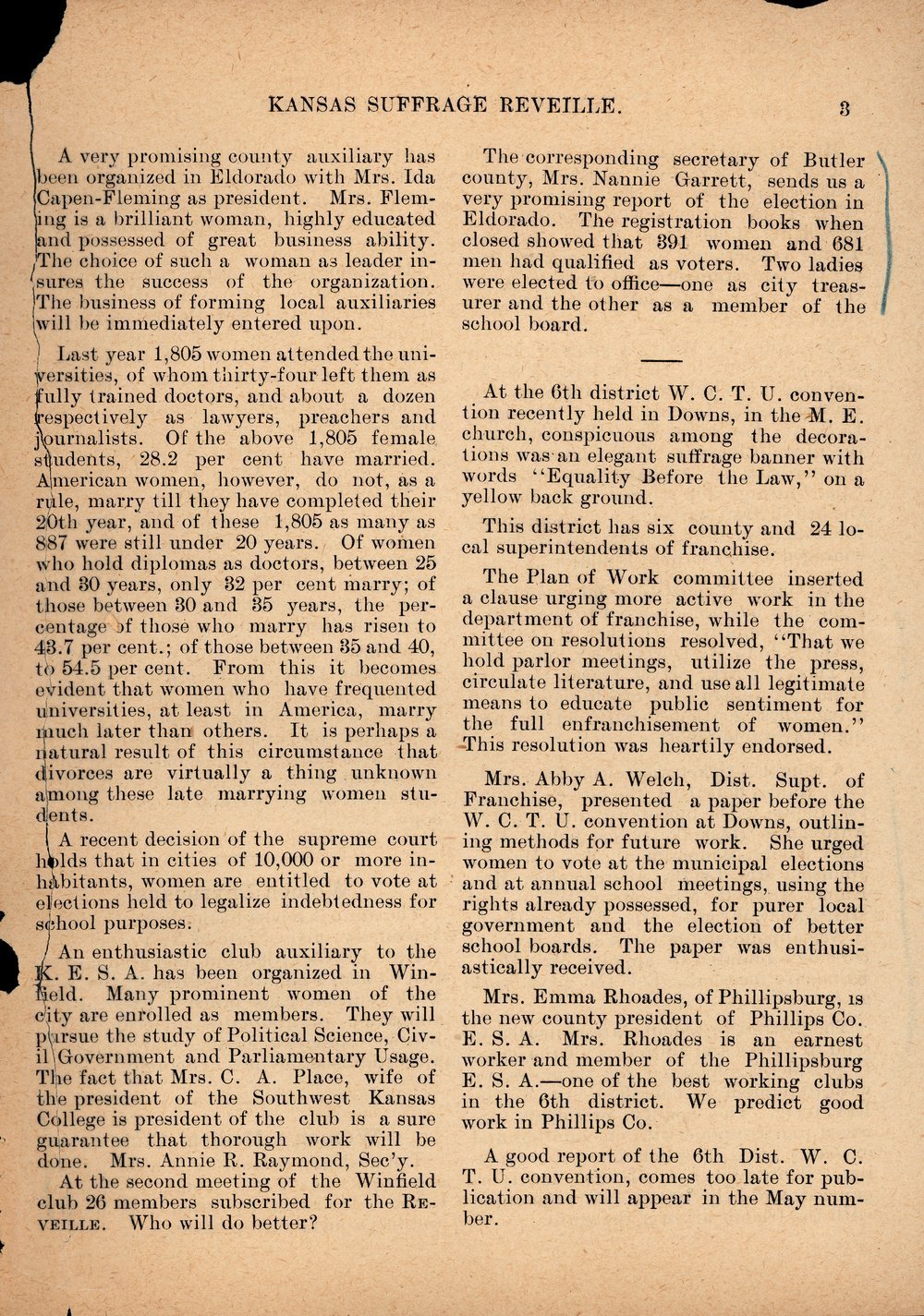 Kansas Suffrage Reveille: organ of the Kansas Equal Suffrage Association - 3