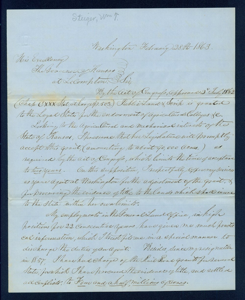 Governor Thomas Carney college and university lands, 1863, correspondence - 1