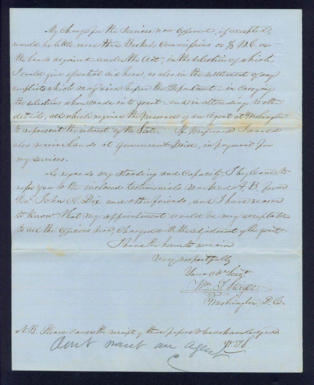 Governor Thomas Carney college and university lands, 1863, correspondence - 2