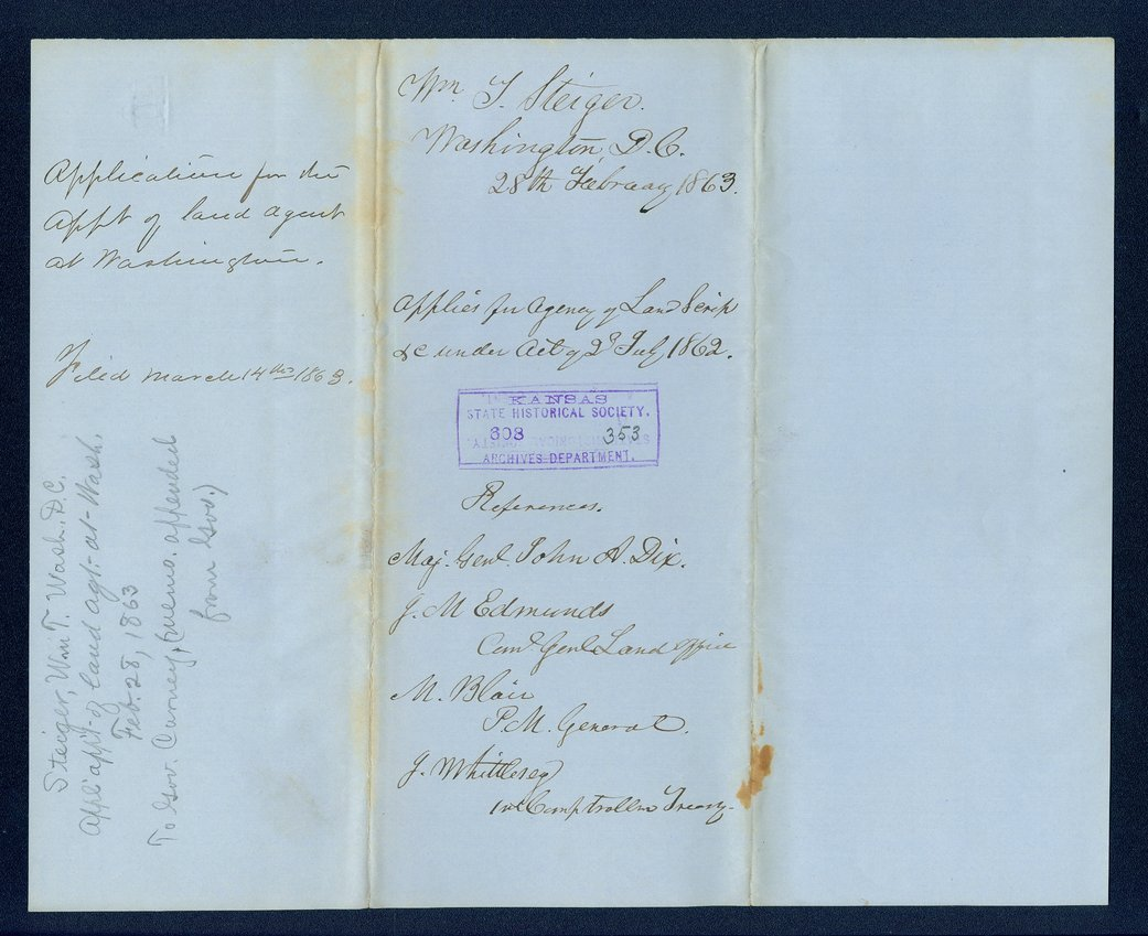 Governor Thomas Carney college and university lands, 1863, correspondence - 3