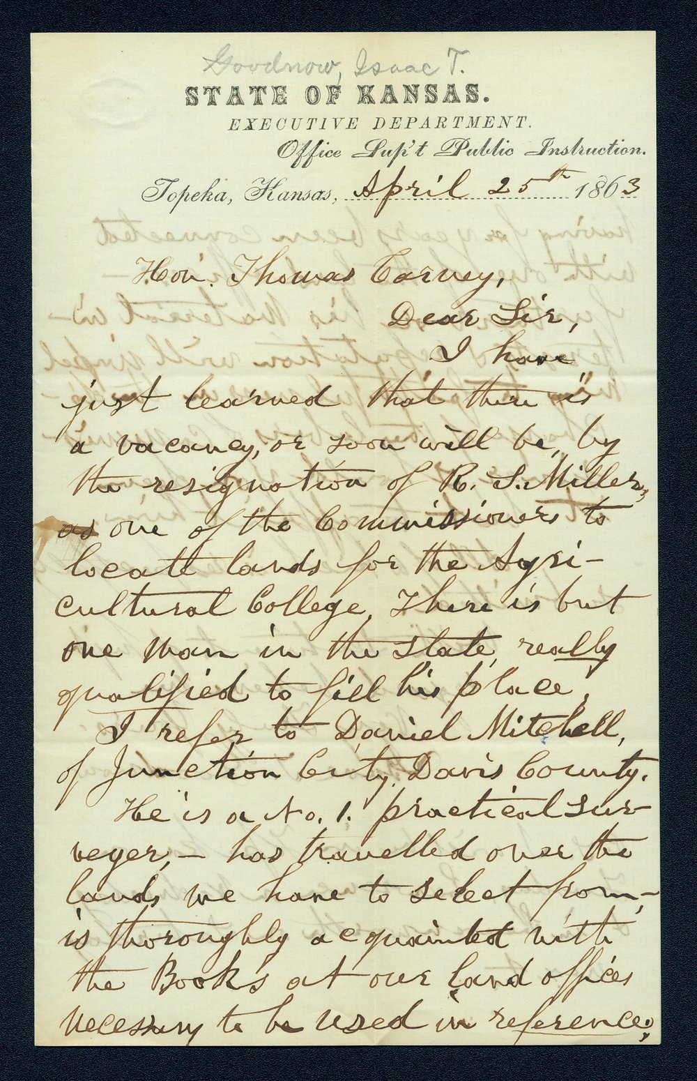 Governor Thomas Carney college and university lands, 1863, correspondence - 4