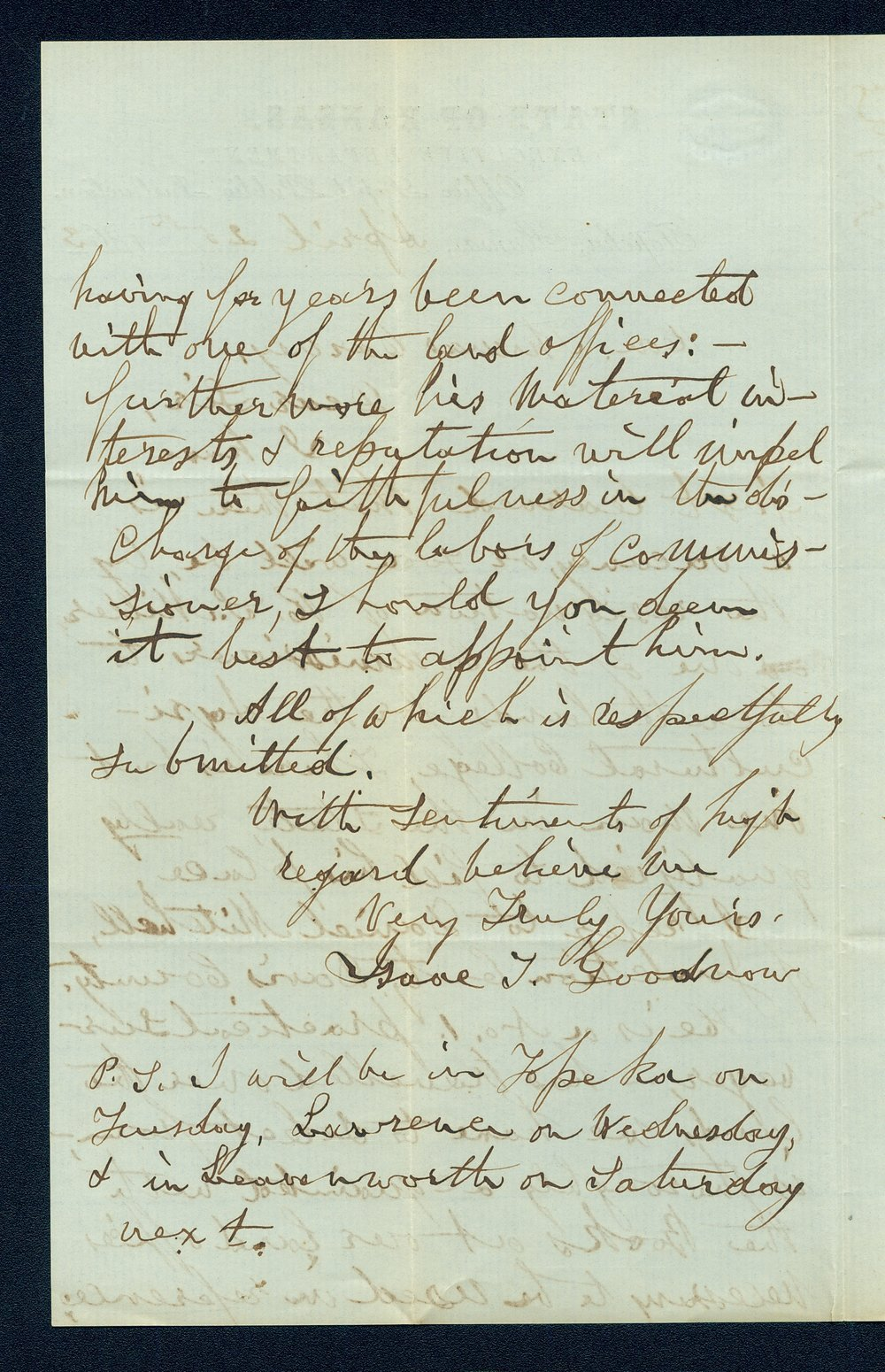 Governor Thomas Carney college and university lands, 1863, correspondence - 5