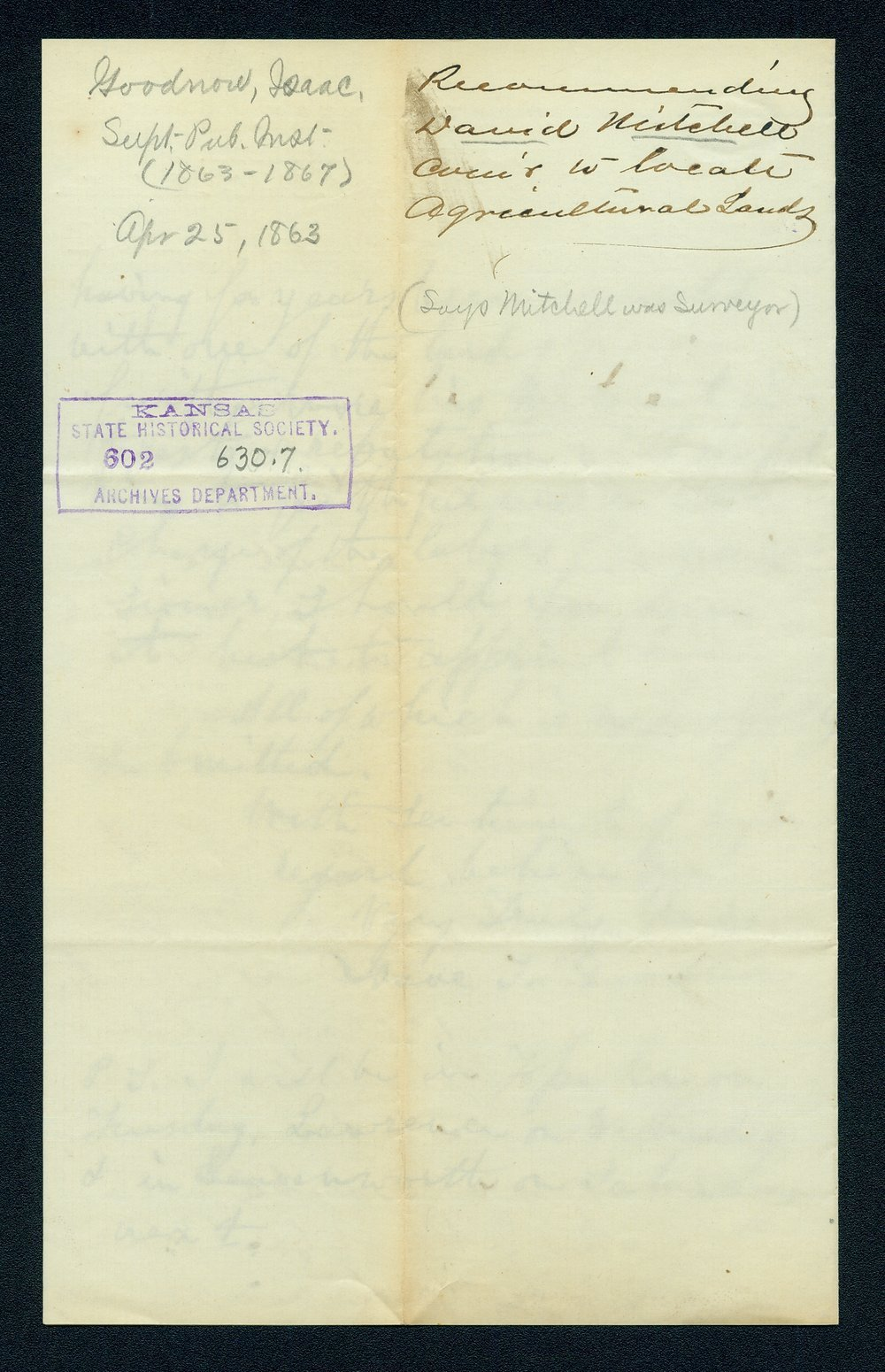 Governor Thomas Carney college and university lands, 1863, correspondence - 6