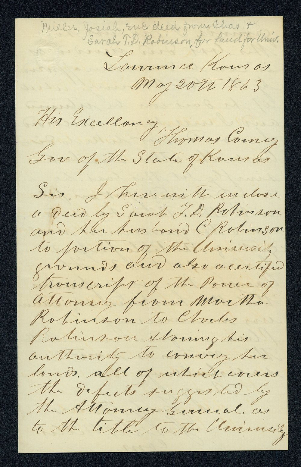 Governor Thomas Carney college and university lands, 1863, correspondence - 7
