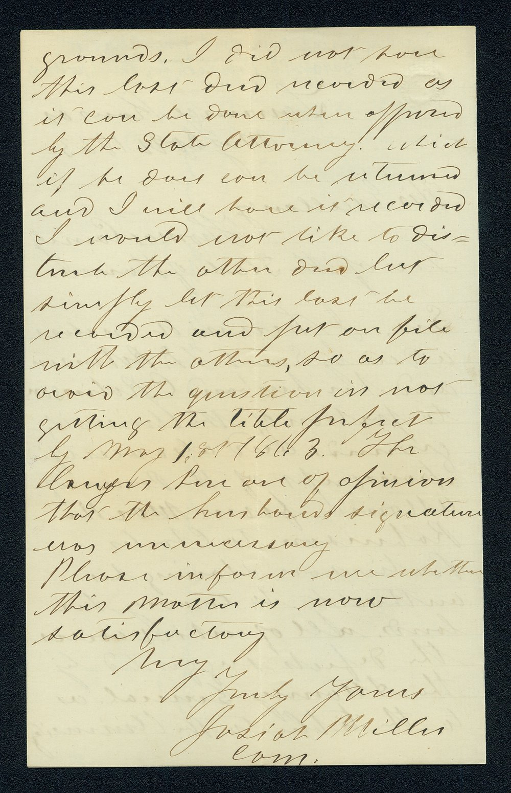 Governor Thomas Carney college and university lands, 1863, correspondence - 8