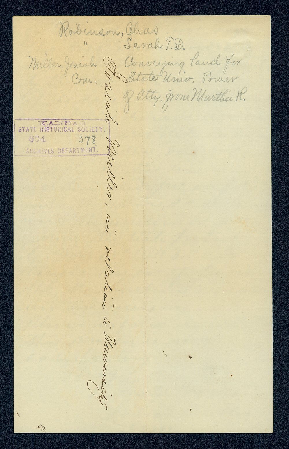 Governor Thomas Carney college and university lands, 1863, correspondence - 9
