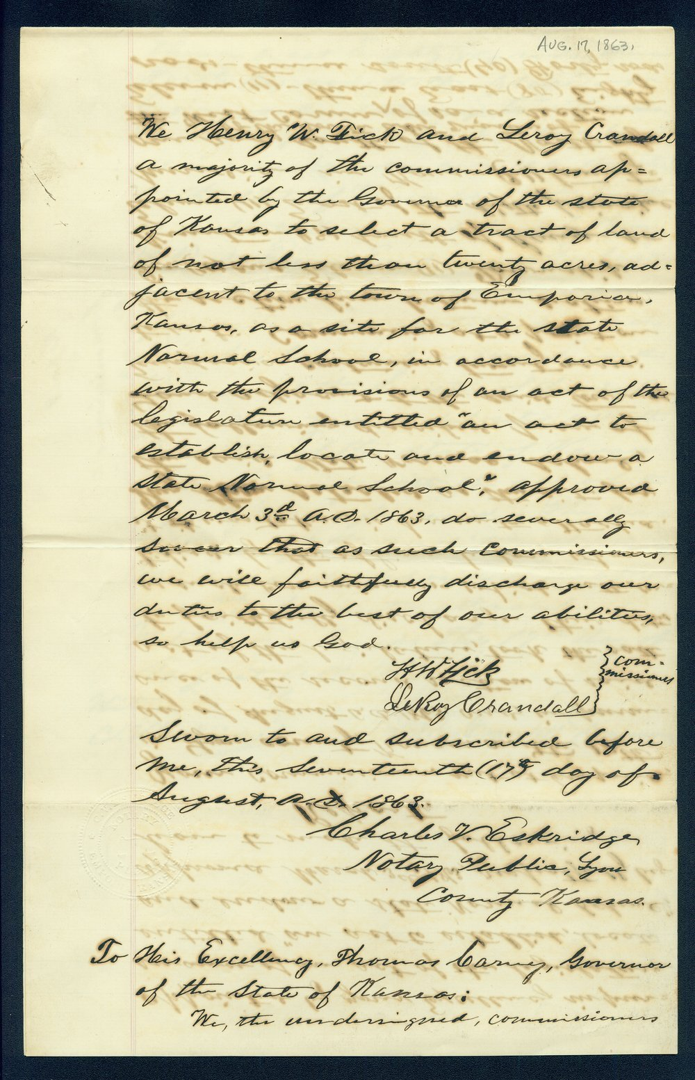 Governor Thomas Carney college and university lands, 1863, correspondence - 10