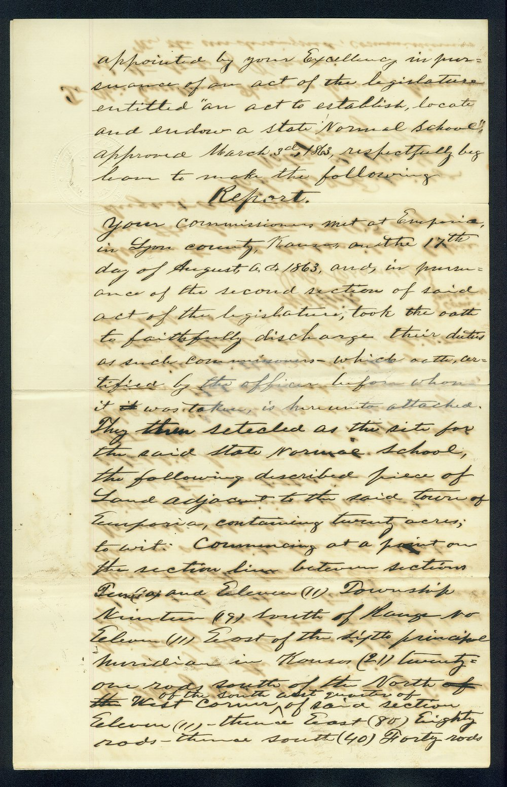 Governor Thomas Carney college and university lands, 1863, correspondence - 11