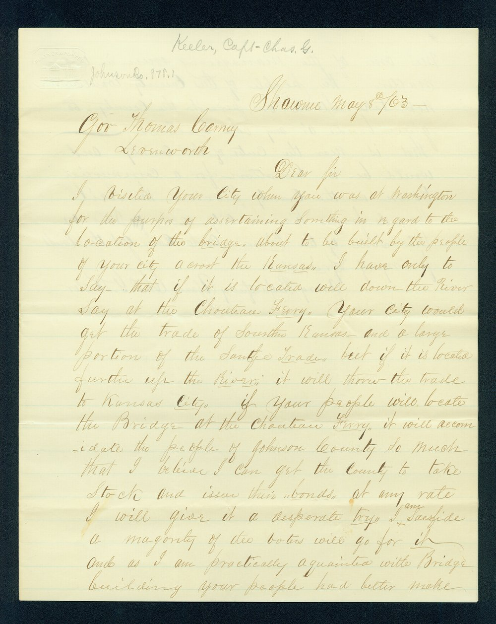 Charles Keeler to Governor Thomas Carney - 1