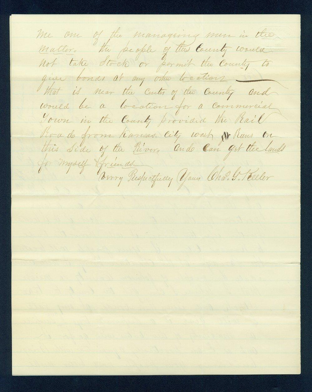 Charles Keeler to Governor Thomas Carney - 2