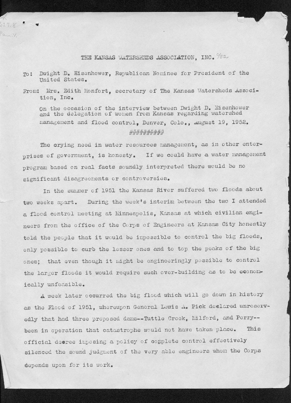 Edith Monfort to Dwight Eisenhower - 1