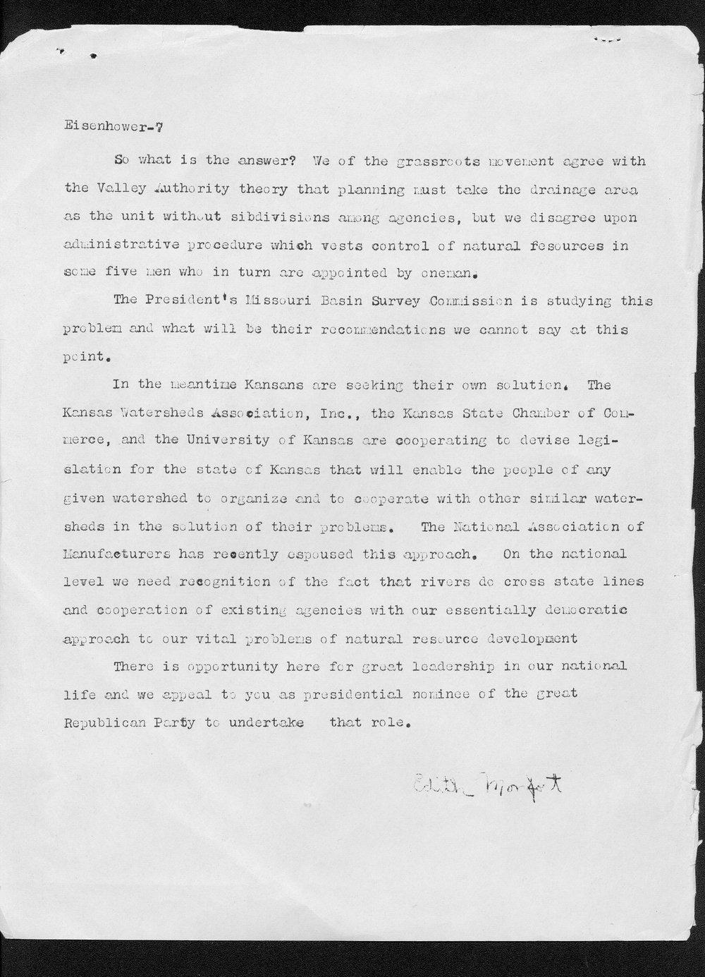 Edith Monfort to Dwight Eisenhower - 7