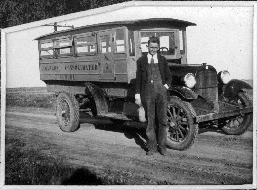 School bus and driver in Cimarron, Kansas