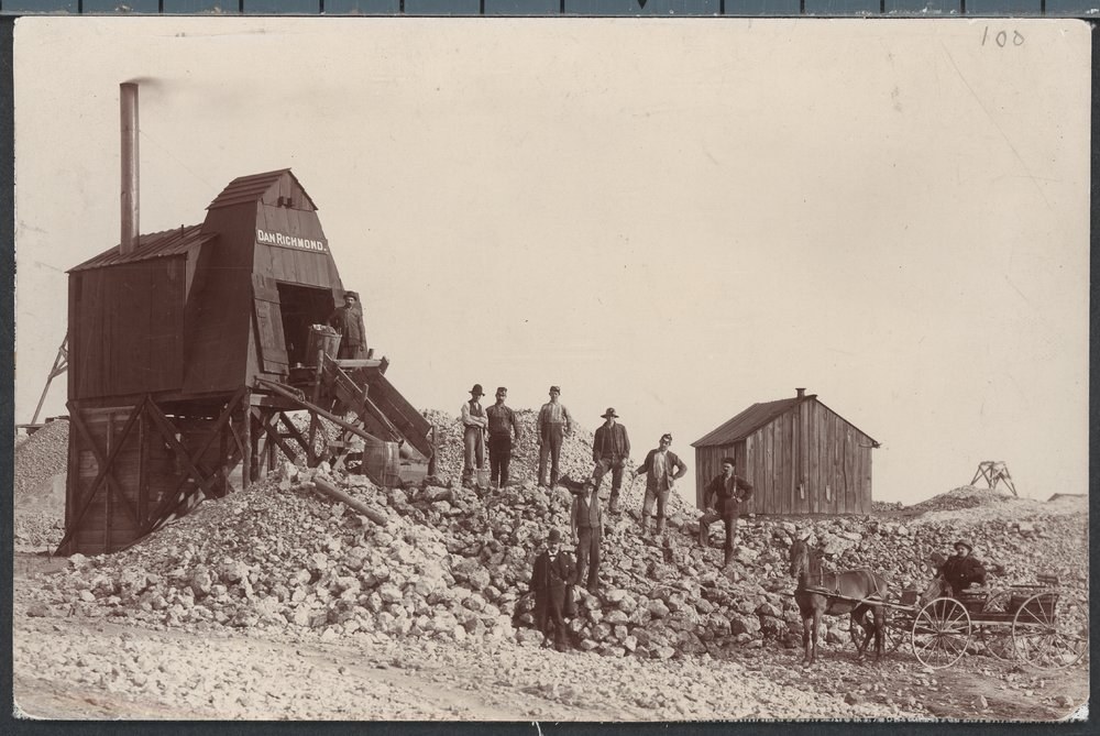 Mining scenes, Galena, Kansas - Photograph of men standing on a pile of mining slag, Galena, Kansas. Image *3