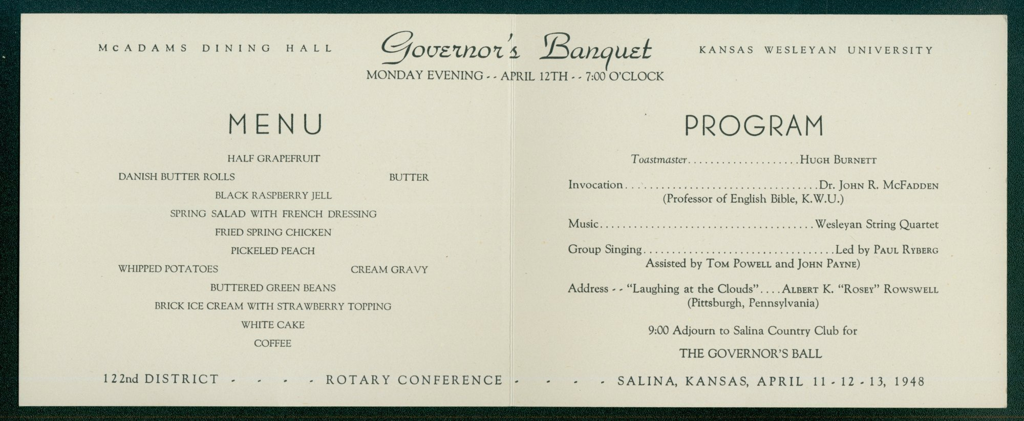 Rotary International governor's banquet program - 2