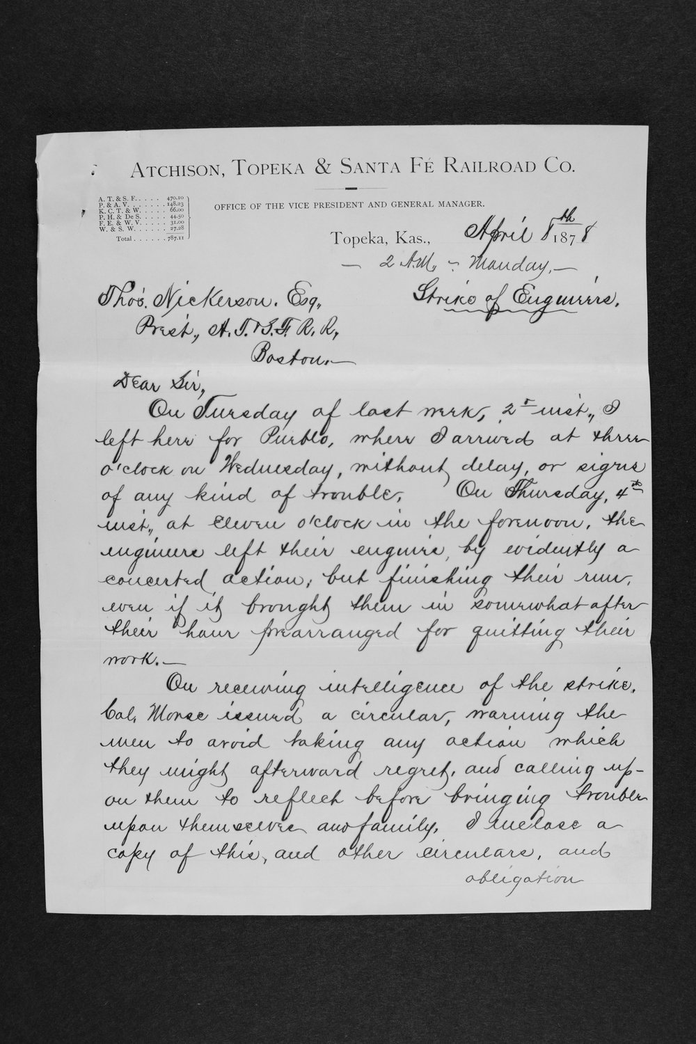 Letter detailing developments in a strikes of engineers - 1