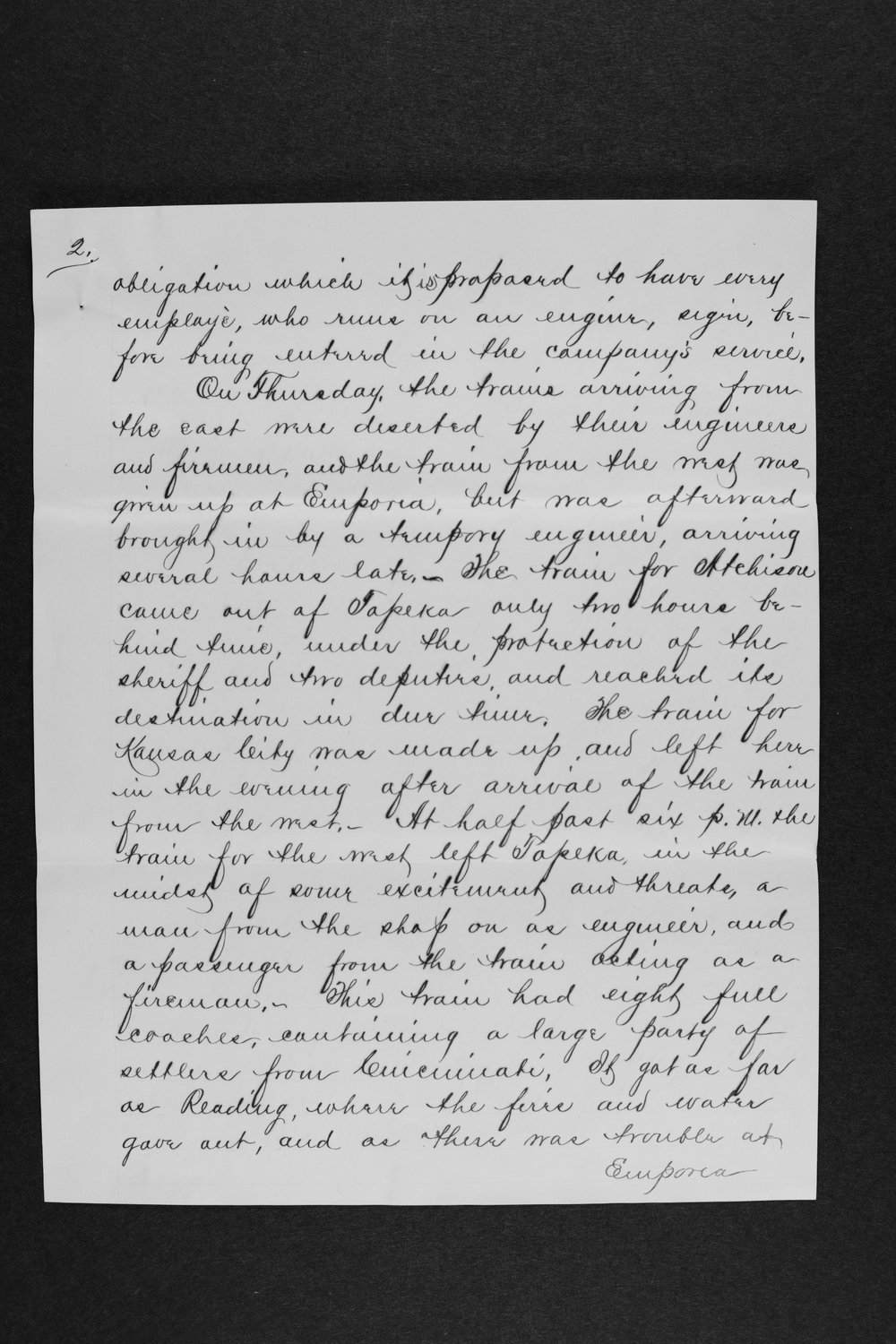 Letter detailing developments in a strikes of engineers - 2