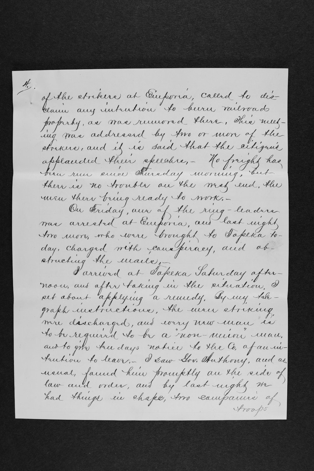 Letter detailing developments in a strikes of engineers - 4