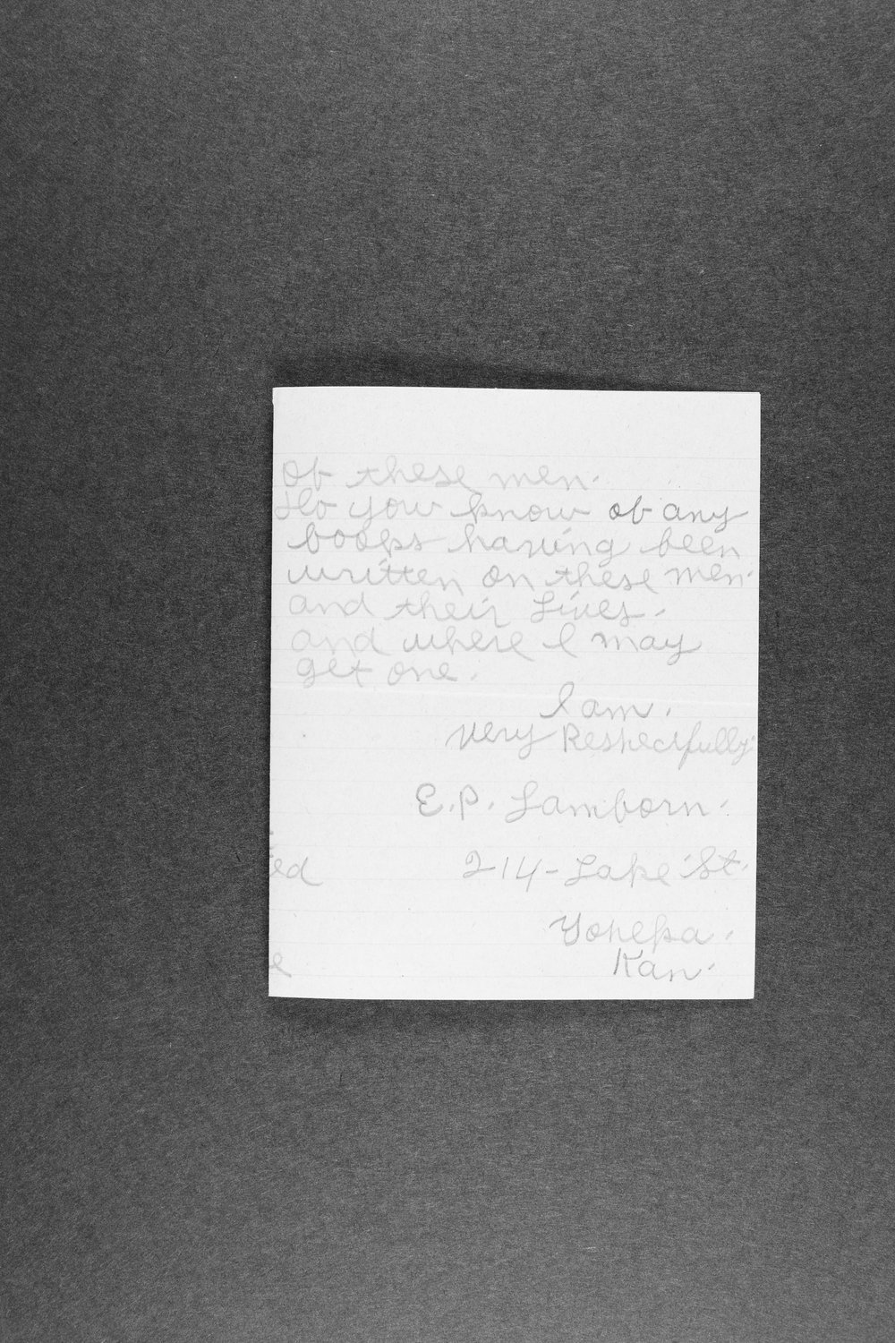 E. P. Lamborn correspondence and research papers - 12