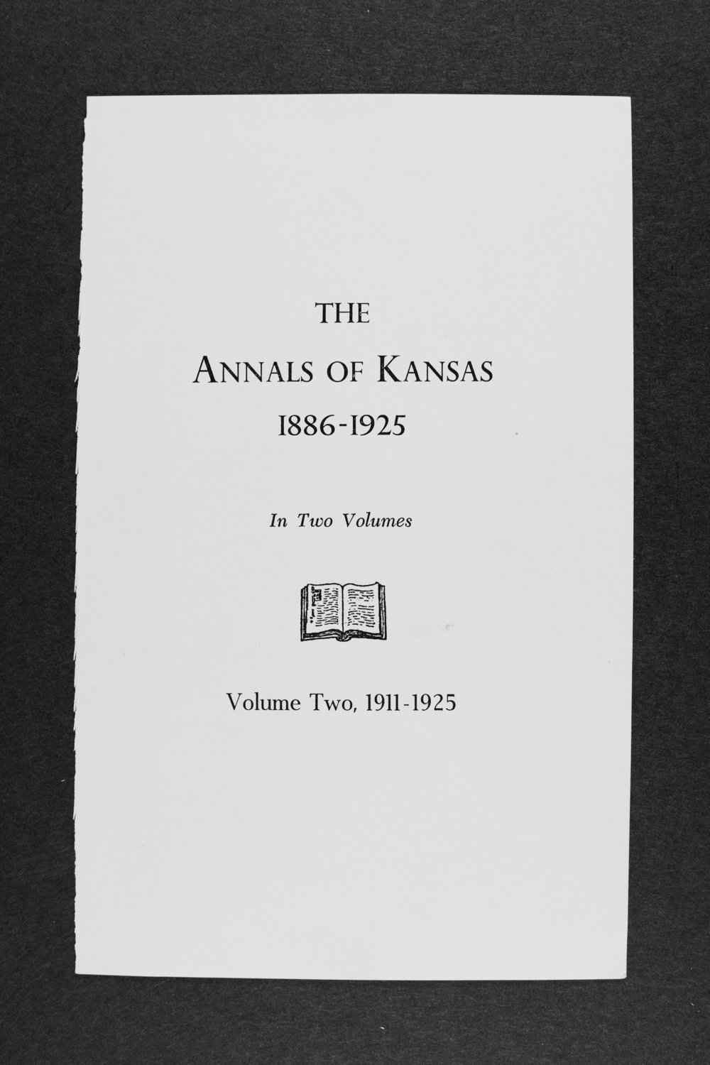 Annals of Kansas, volume two, 1911-1925 - Title Page