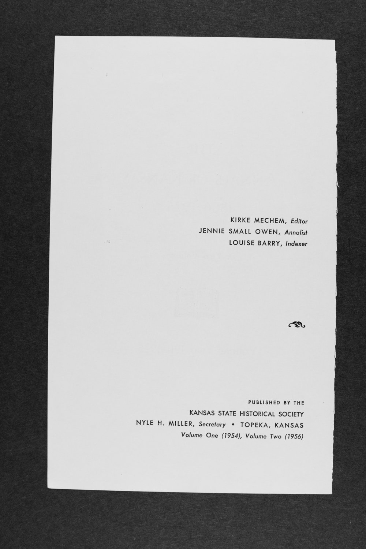 Annals of Kansas, volume two, 1911-1925 - ii