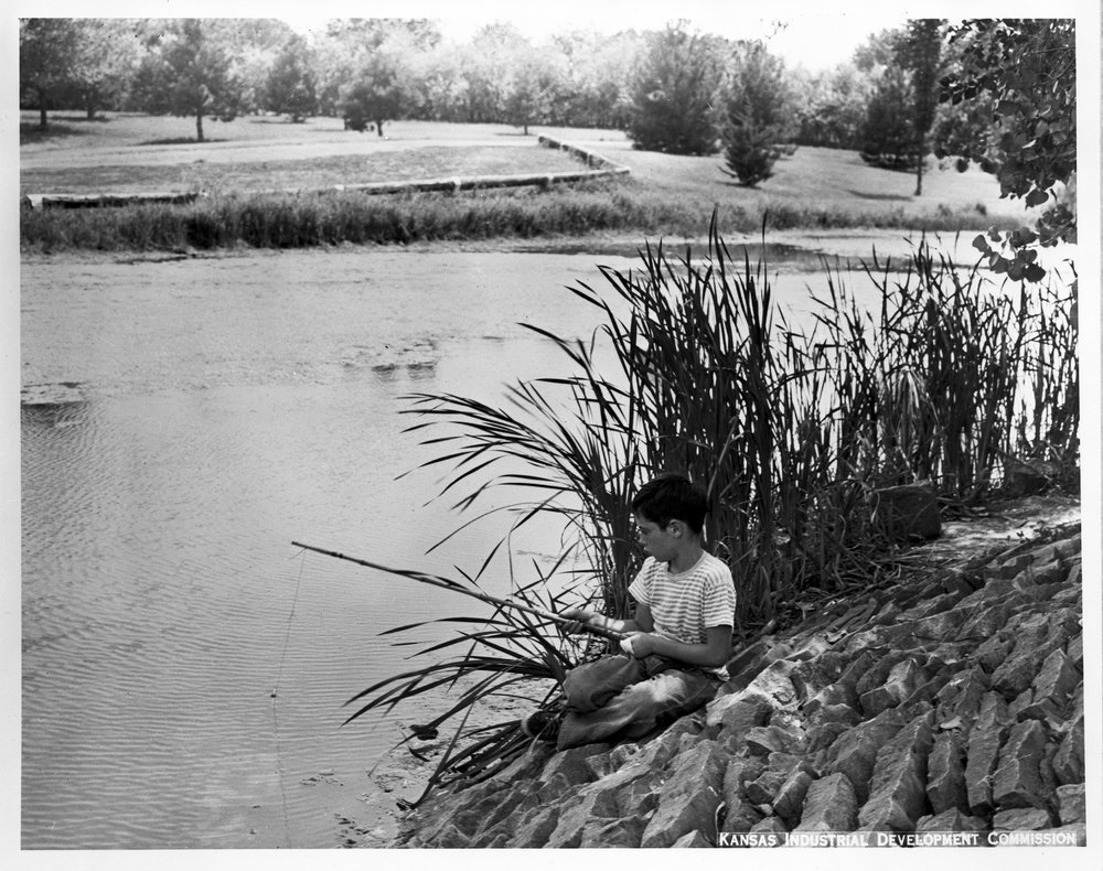 Boy fishing at Gage Park, Topeka, Kansas - 2
