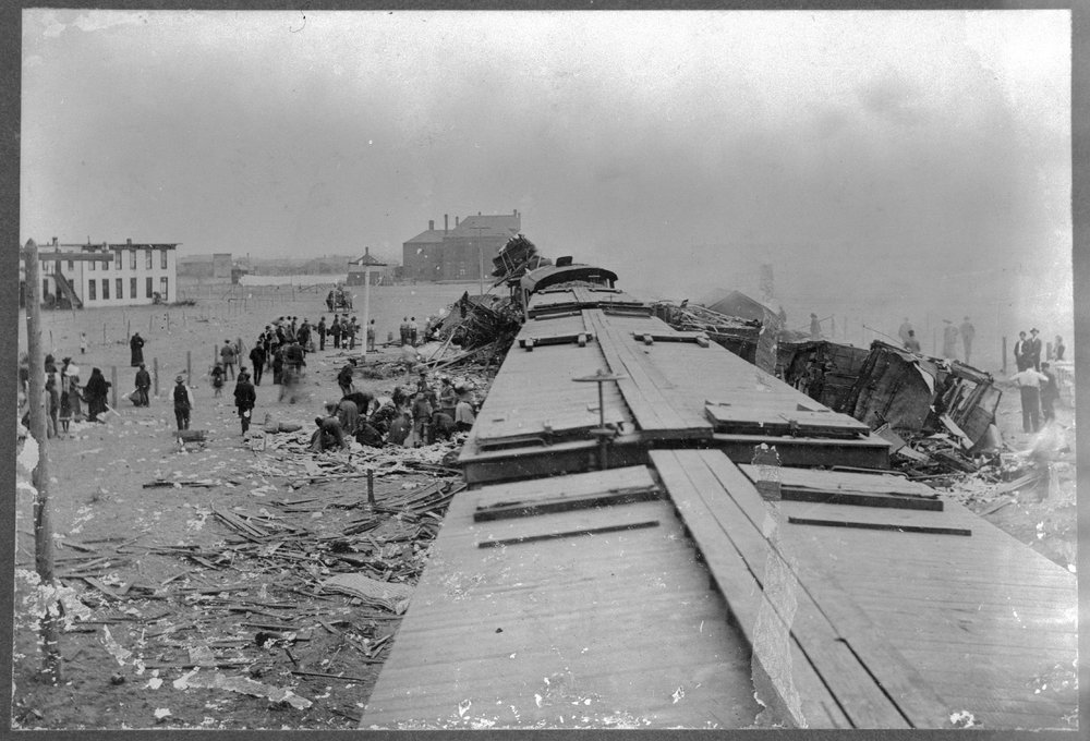 Chicago, Rock Island and Pacific Railroad wreck near Liberal, Kansas