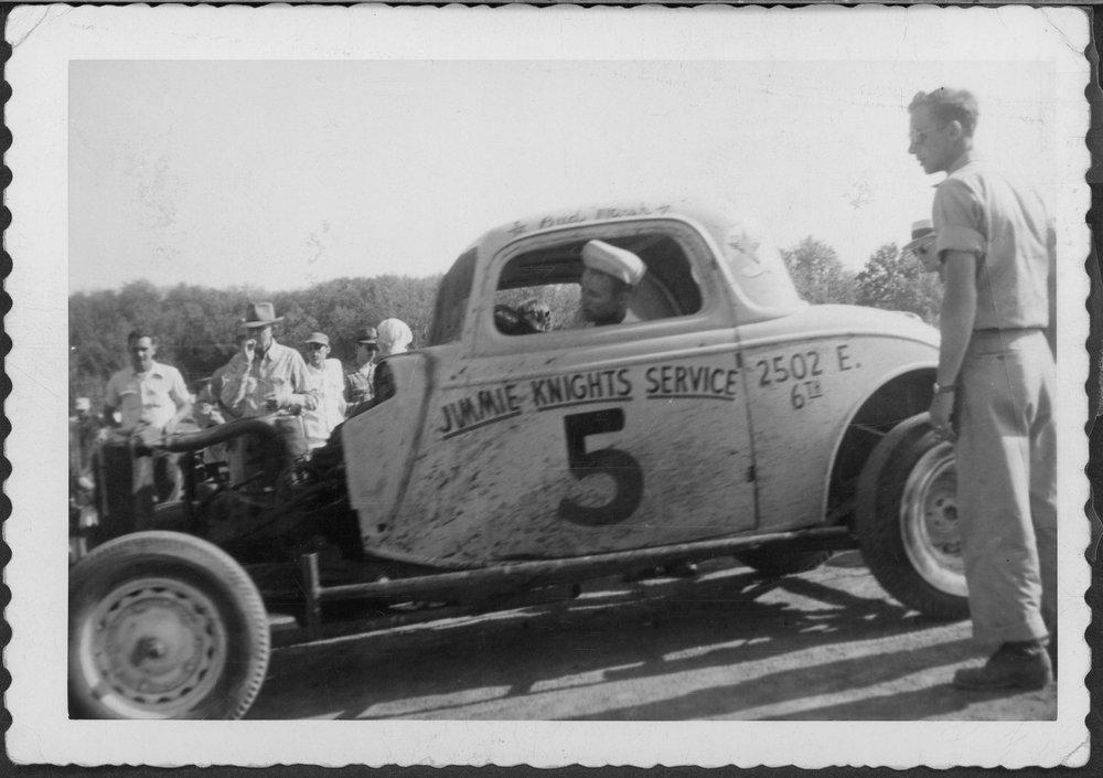 Bud Marsh in a race car