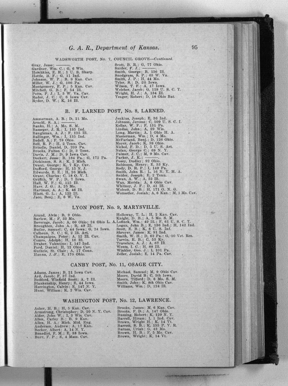 State roster of the Kansas Grand Army of the Republic - 95