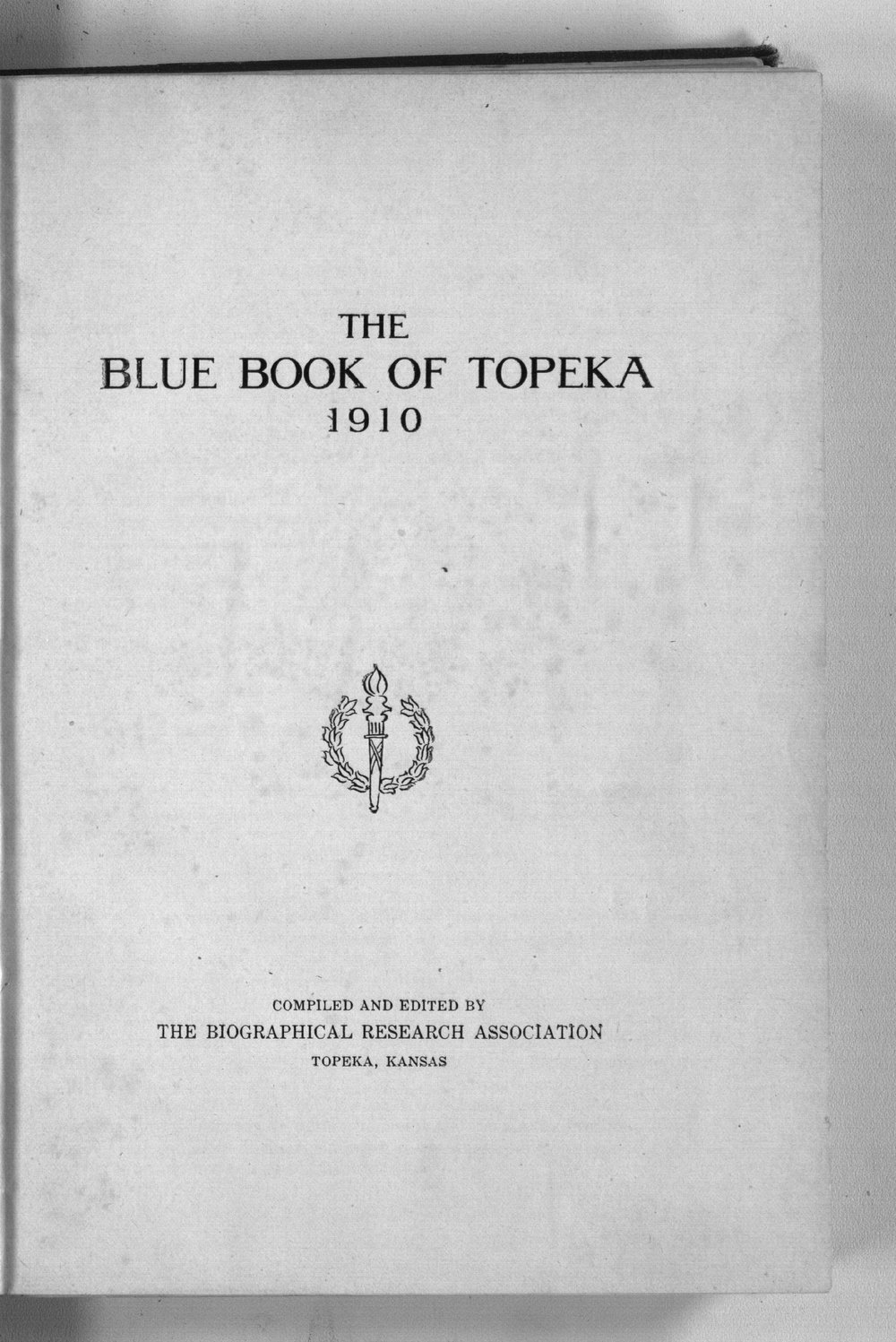 The blue book of Topeka - Title Page
